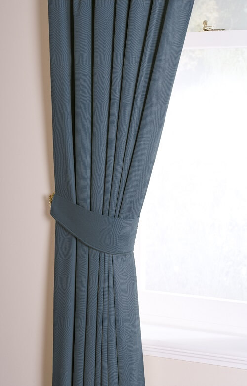 Curtian Pelmets Dartford-Brunswick Ceramic Blue Tieback Piped-Drapes By Design
