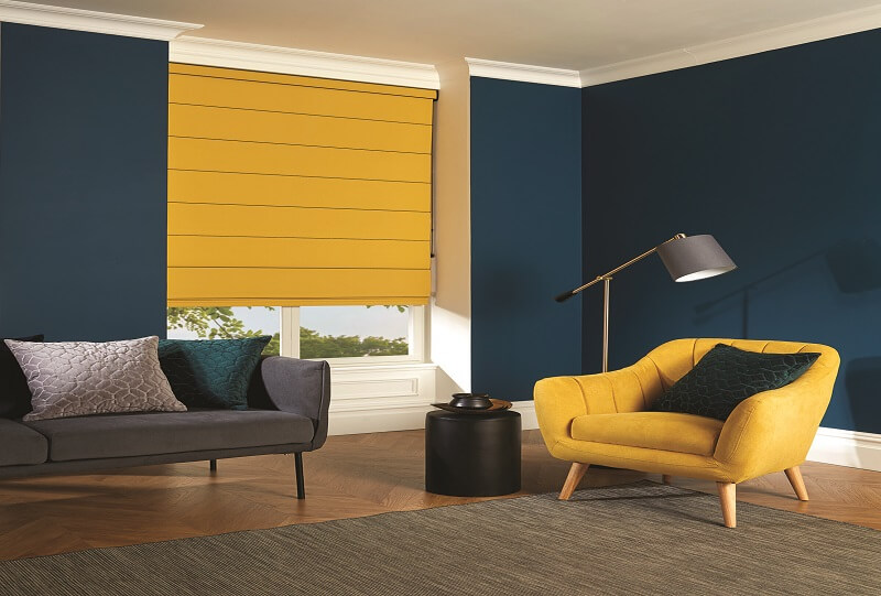Made to Measure Bespoke Roman Blinds.-Roman_Carnival_Amber-Drapes By Design