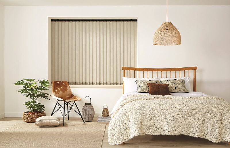 Vertical Blinds Made to Measure-Vertical_Herringbone_Oatmeal-Drapes By Design